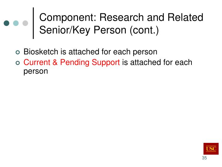 Component: Research and Related Senior/Key Person (cont.)
