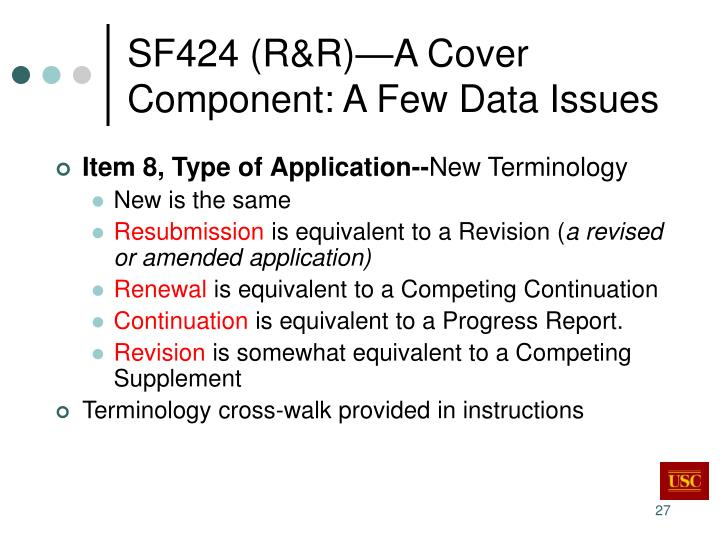SF424 (R&R)—A Cover Component: A Few Data Issues