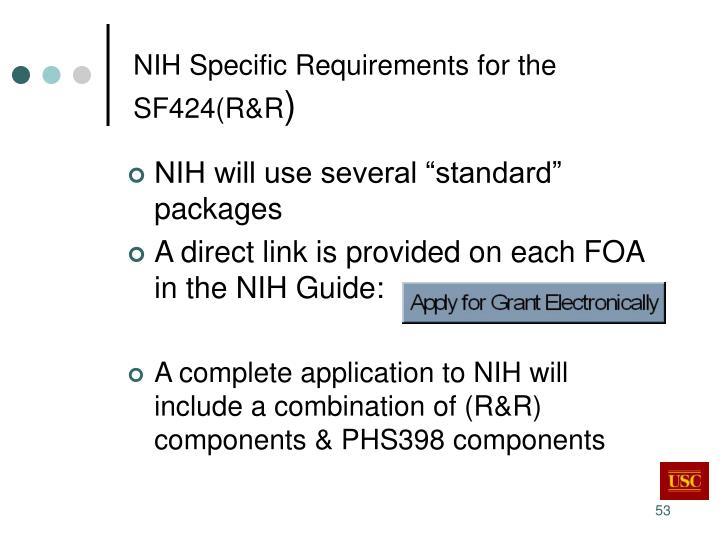 NIH Specific Requirements for the SF424(R&R