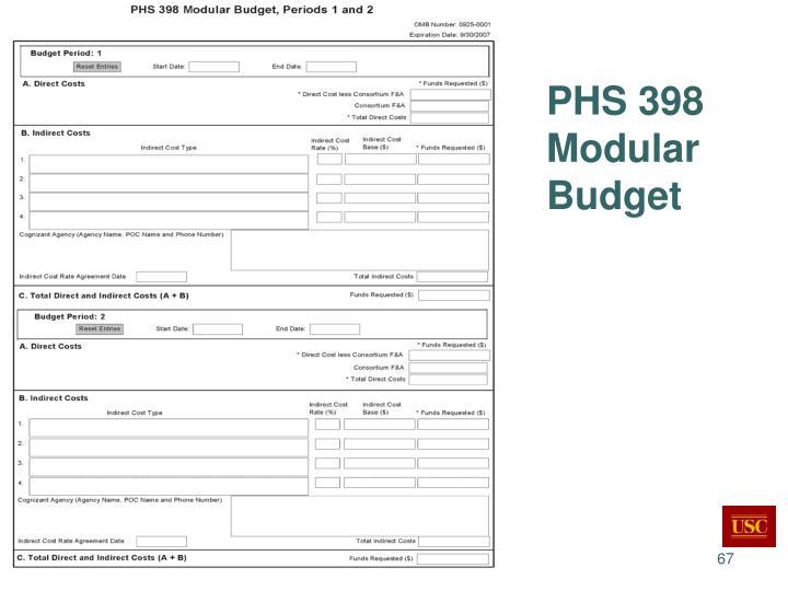 PHS 398 Modular Budget