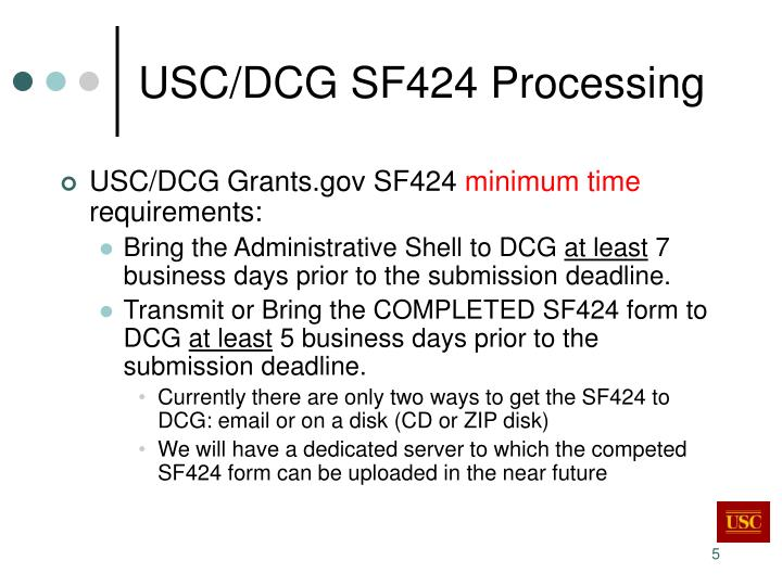 USC/DCG SF424 Processing