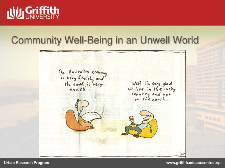 Community Well-Being in an Unwell World