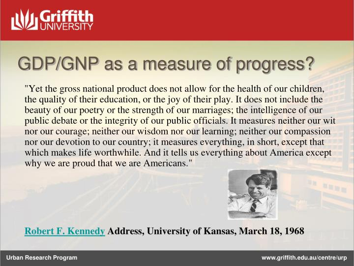 Gdp gnp as a measure of progress