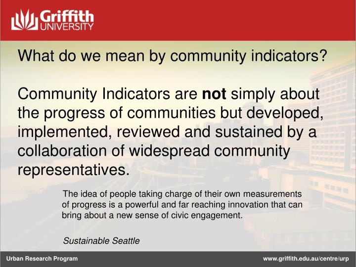 What do we mean by community indicators?