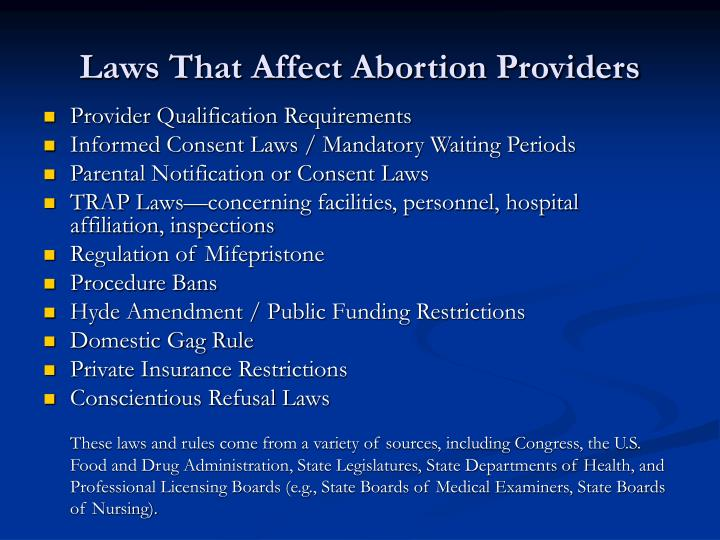 Laws That Affect Abortion Providers