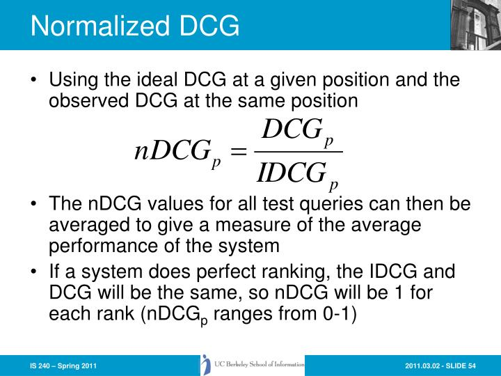 Normalized DCG