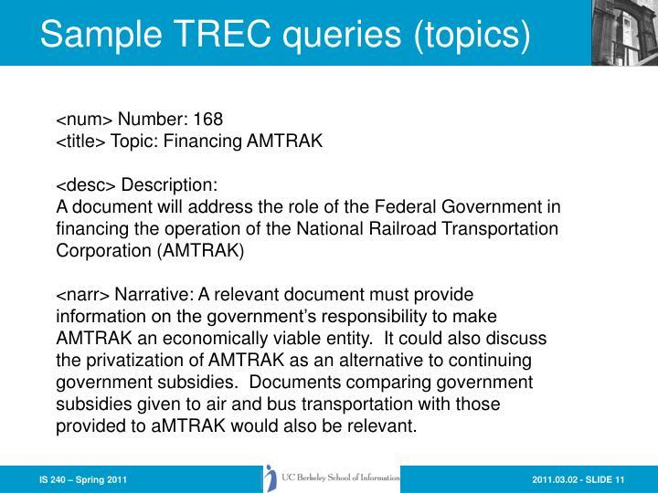 Sample TREC queries (topics)