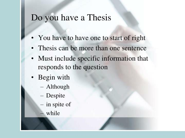 Do you have a Thesis