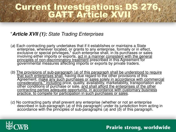 Current Investigations: DS 276,