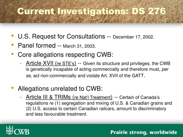 Current Investigations: DS 276