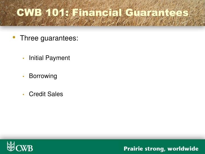 CWB 101: Financial Guarantees