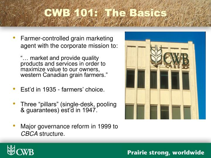 CWB 101:  The Basics