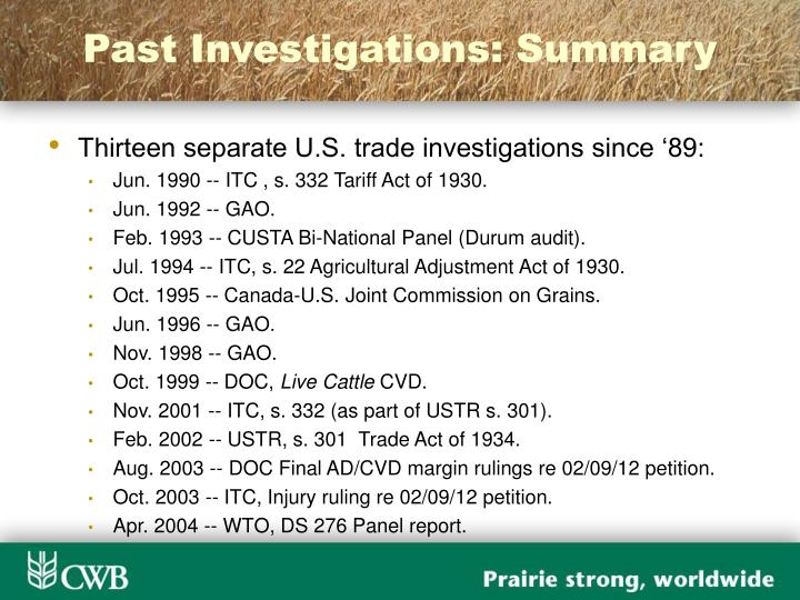 Past Investigations: Summary