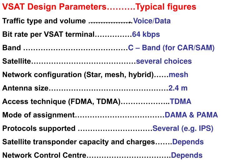 VSAT Design Parameters……….Typical figures