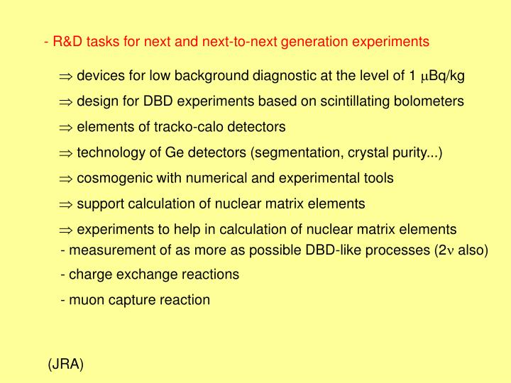 - R&D tasks for next and next-to-next generation experiments