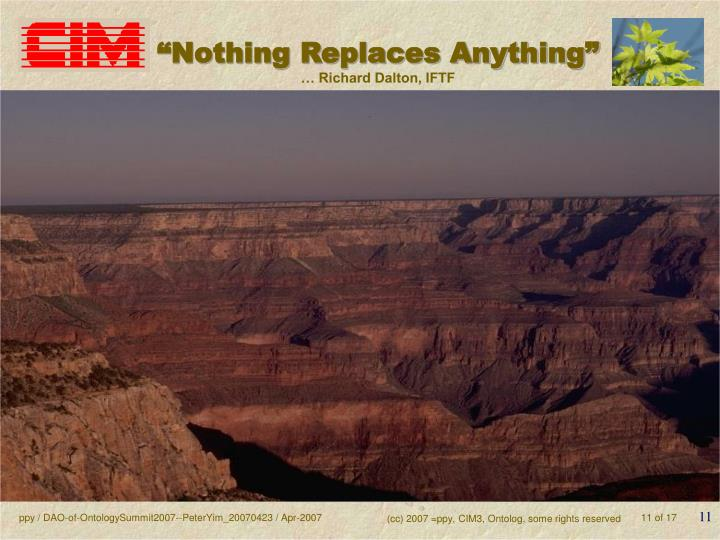 """""""Nothing Replaces Anything"""""""