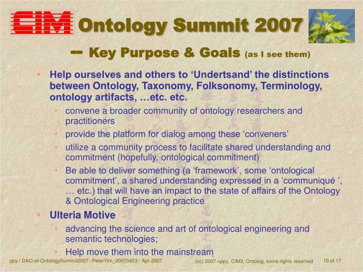 Ontology Summit 2007