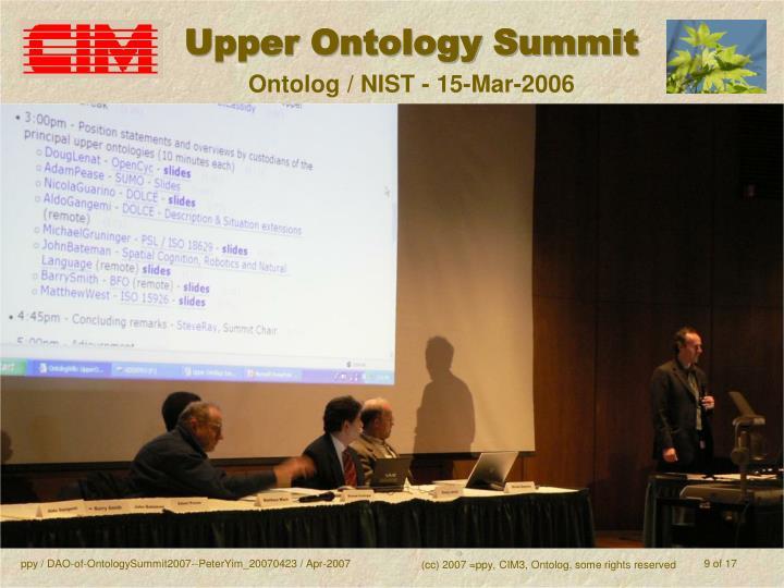 Upper Ontology Summit
