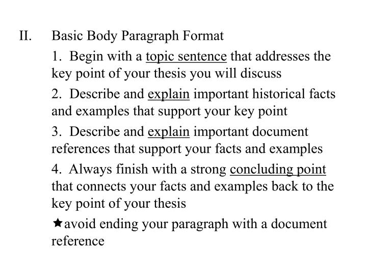 Basic Body Paragraph Format