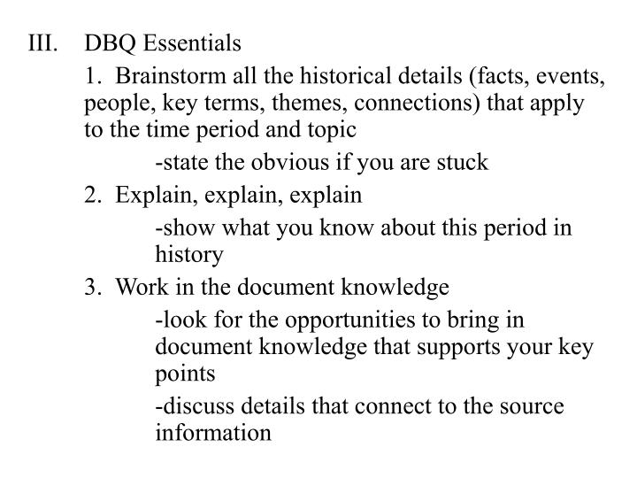 DBQ Essentials