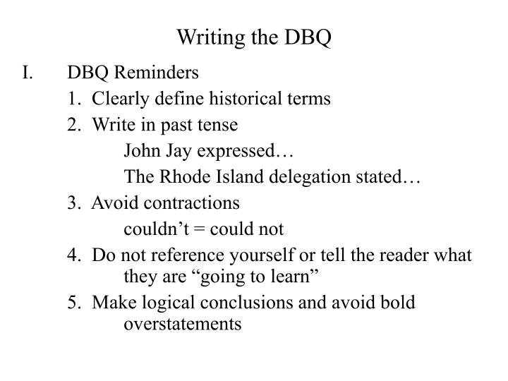 Writing the DBQ