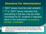 directions for administration