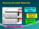 packing scorable materials