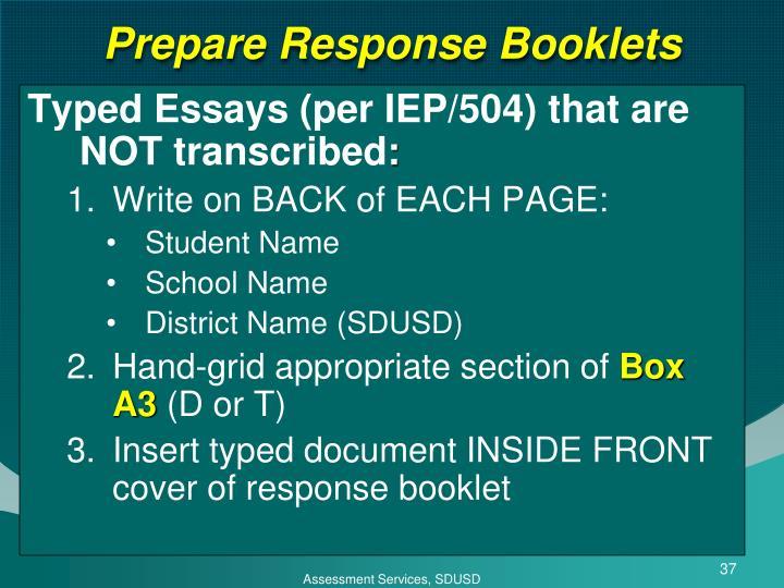 Prepare Response Booklets
