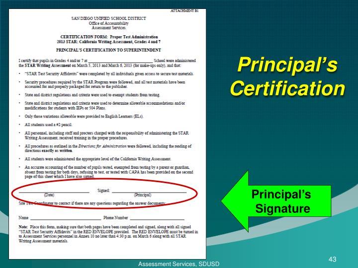 Principal's Certification