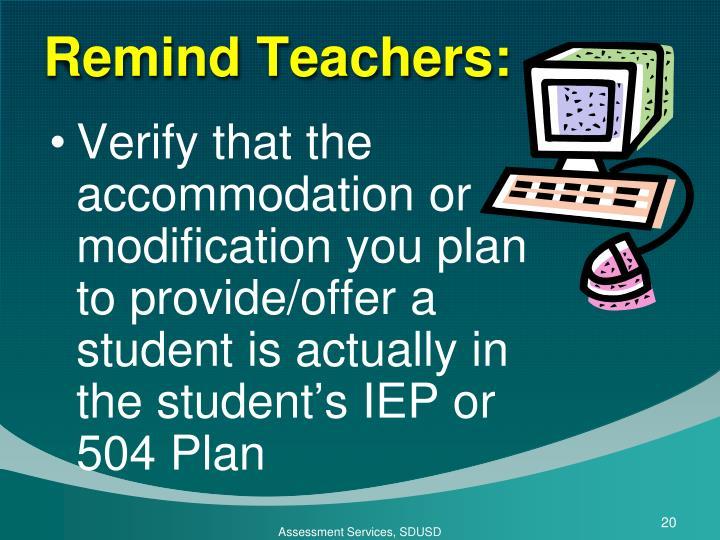 Remind Teachers: