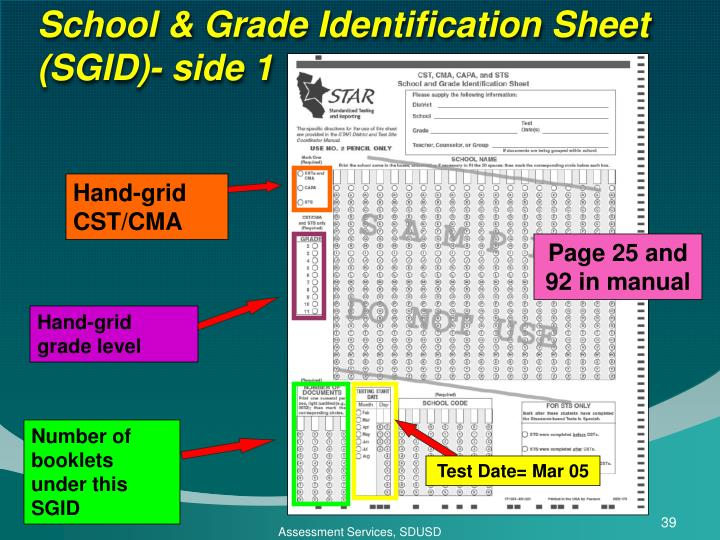 School & Grade Identification Sheet (SGID)- side 1