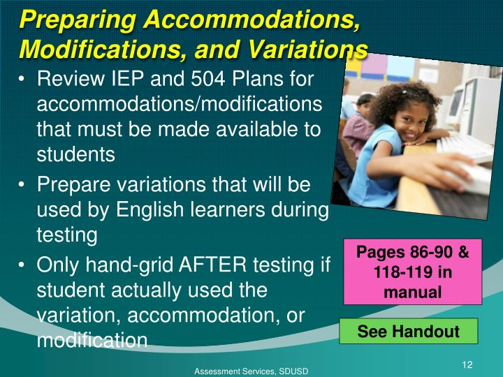 Preparing Accommodations, Modifications, and Variations