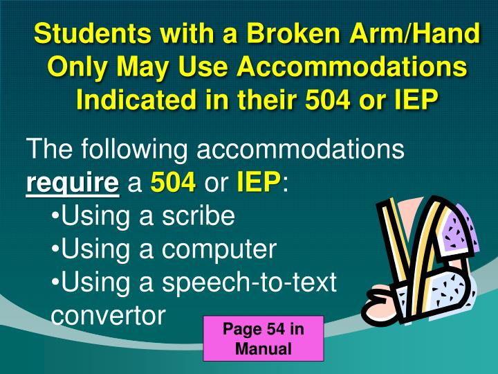 Students with a Broken Arm/Hand Only May Use Accommodations Indicated in their 504 or IEP
