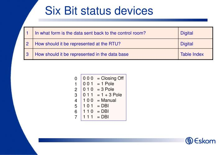 Six Bit status devices