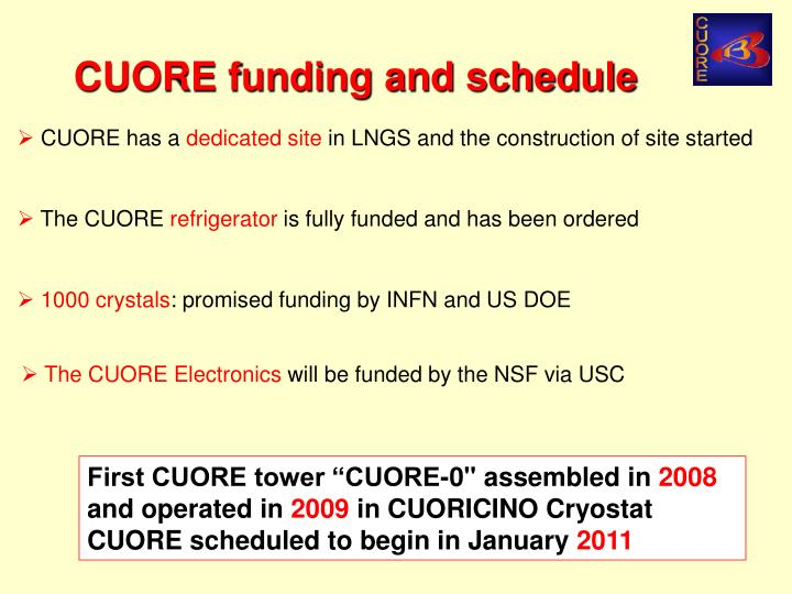 CUORE funding and schedule