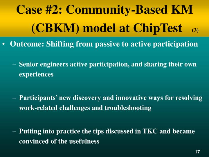 Case #2: Community-Based KM (CBKM) model at ChipTest