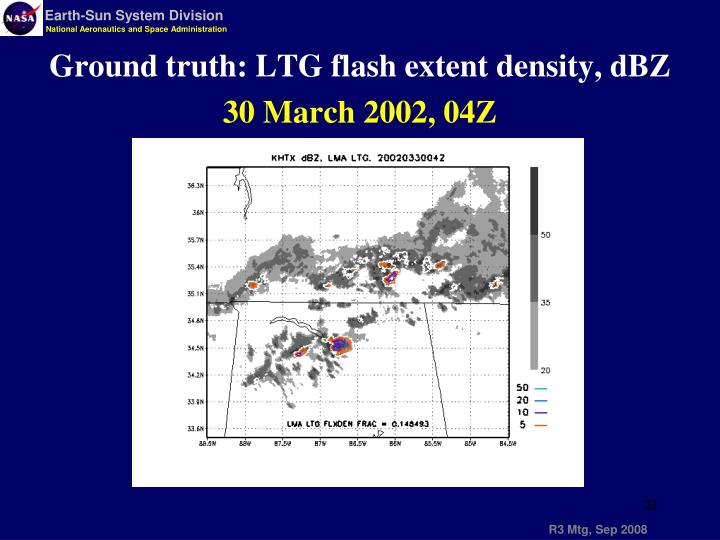 Ground truth: LTG flash extent density, dBZ