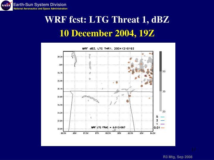 WRF fcst: LTG Threat 1, dBZ