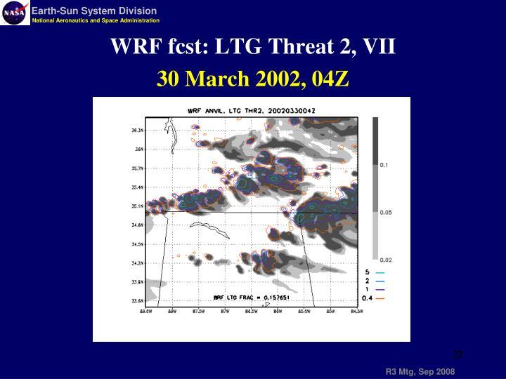 WRF fcst: LTG Threat 2, VII