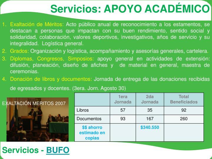 Servicios: APOYO ACADÉMICO