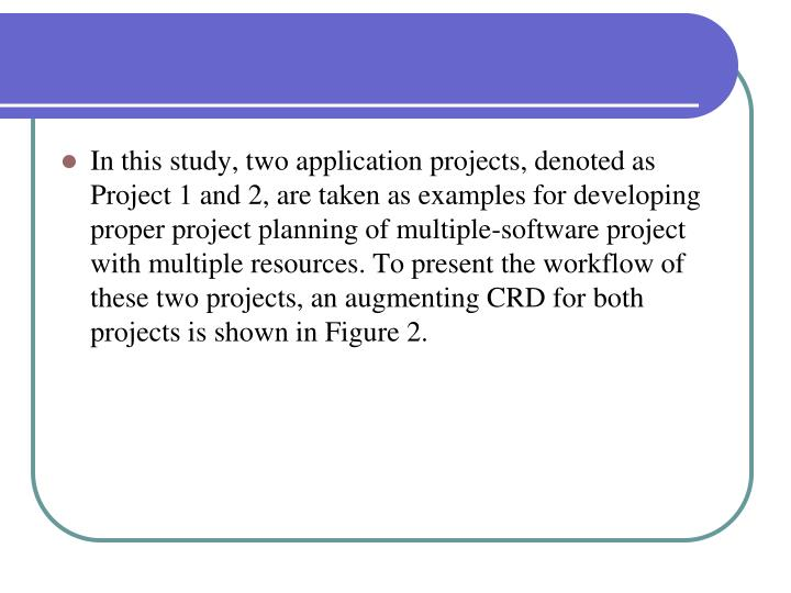 In this study, two application projects, denoted as Project 1 and 2, are taken as examples for developing proper project planning of multiple-software project with multiple resources. To present the workflow of these two projects, an augmenting CRD for both projects is shown in Figure 2.