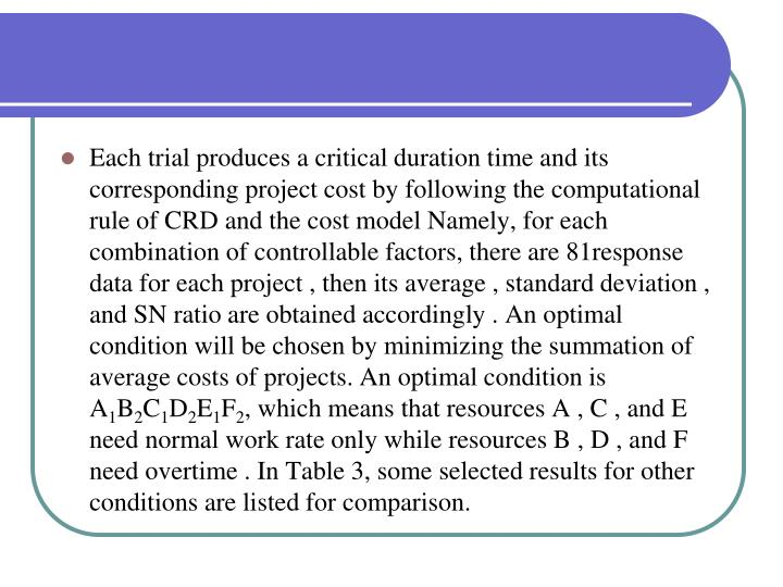 Each trial produces a critical duration time and its corresponding project cost by following the computational rule of CRD and the cost model Namely, for each combination of controllable factors, there are 81response data for each project , then its average , standard deviation , and SN ratio are obtained accordingly . An optimal condition will be chosen by minimizing the summation of average costs of projects. An optimal condition is A
