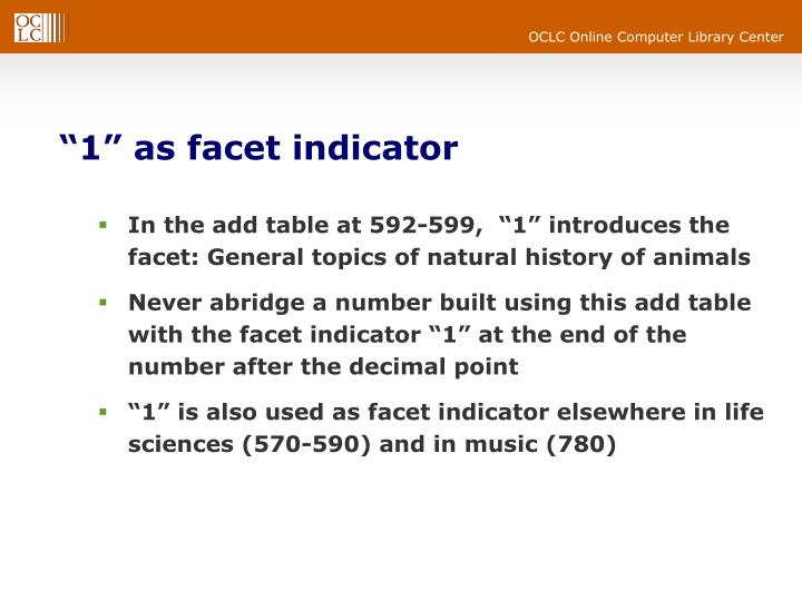 """1"" as facet indicator"