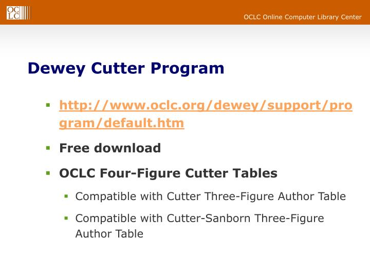 Dewey Cutter Program
