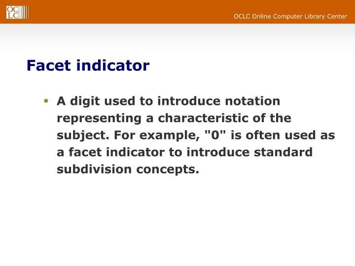 Facet indicator