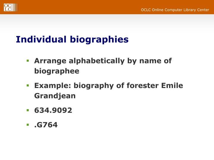 Individual biographies