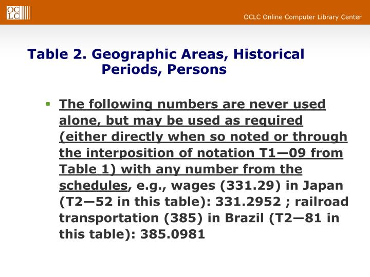 Table 2. Geographic Areas, Historical 			Periods, Persons