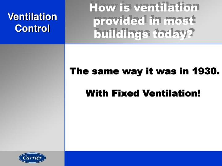How is ventilation provided in most buildings today?