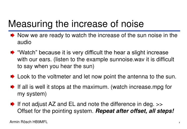Measuring the increase of noise