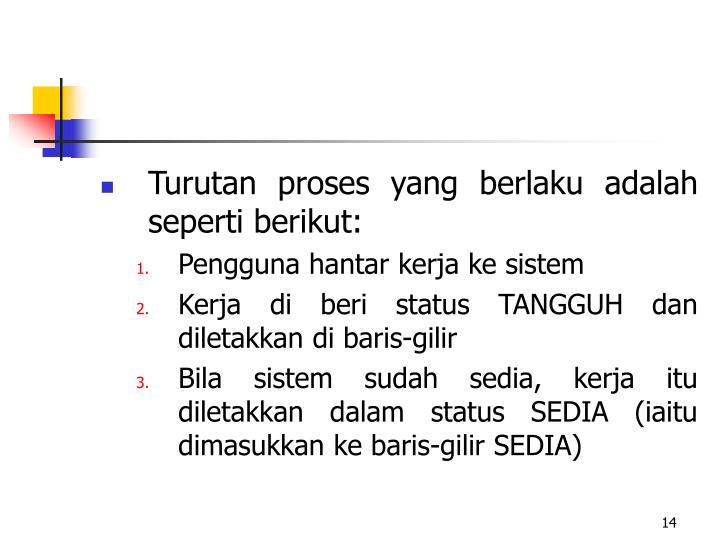 Turutan proses yang berlaku adalah seperti berikut:
